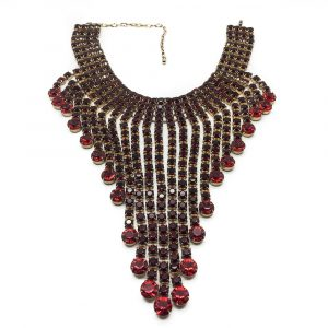 red necklace 1950s crystal Vintage costume Jewellery