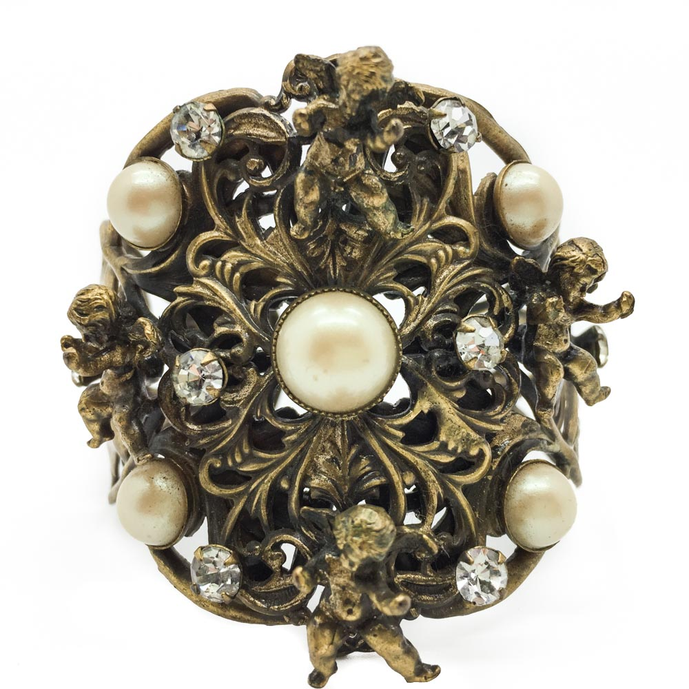 Vintage Joseff of Hollywood cuff Cherubs and Pearls