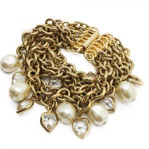gold crystal hearts bracelet