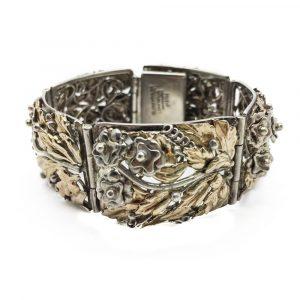 Vintage Hobe Sterling Silver & Gold Cuff Bracelet