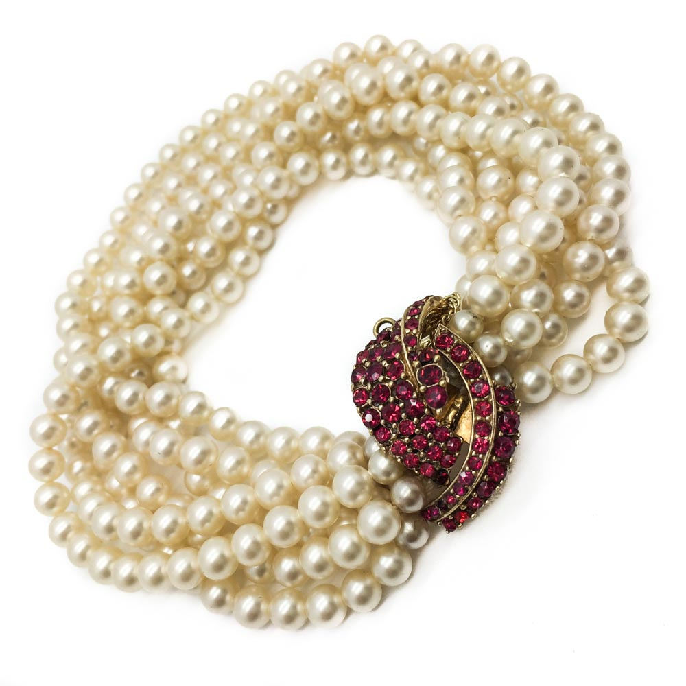 Sold Out – Ciner Faux Ruby And Pearl Torsade Bracelet