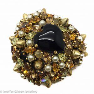 Vintage Christian Dior Heart Brooch 1960s