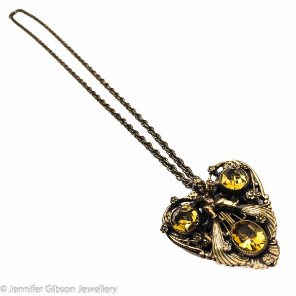 Vintage Joseff of Hollywood Necklace Heart Cherubs