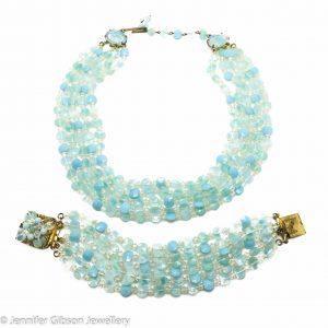 Vintage Opaline Glass Bracelet and Necklace
