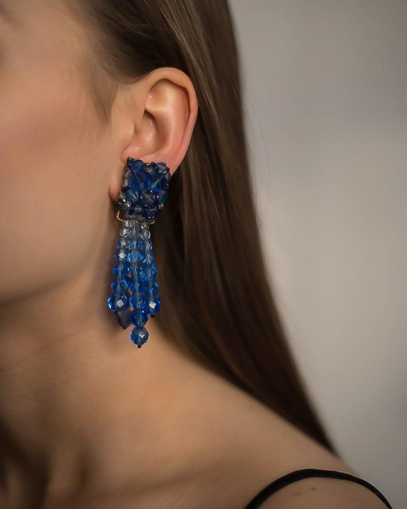 Vintage Coppola e Toppo Blue Cascade Earrings Jennifer Gibson Jewellery