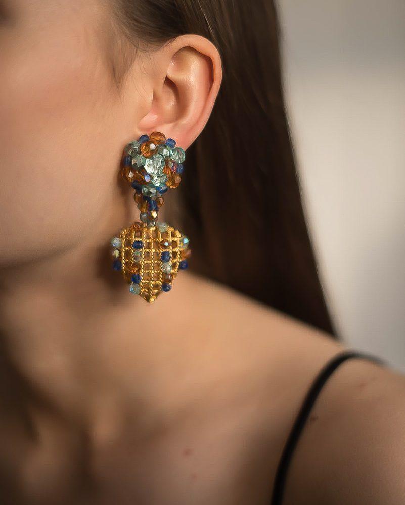 Vintage French Beaded Heart Basket Earrings Jennifer Gibson Jewellery