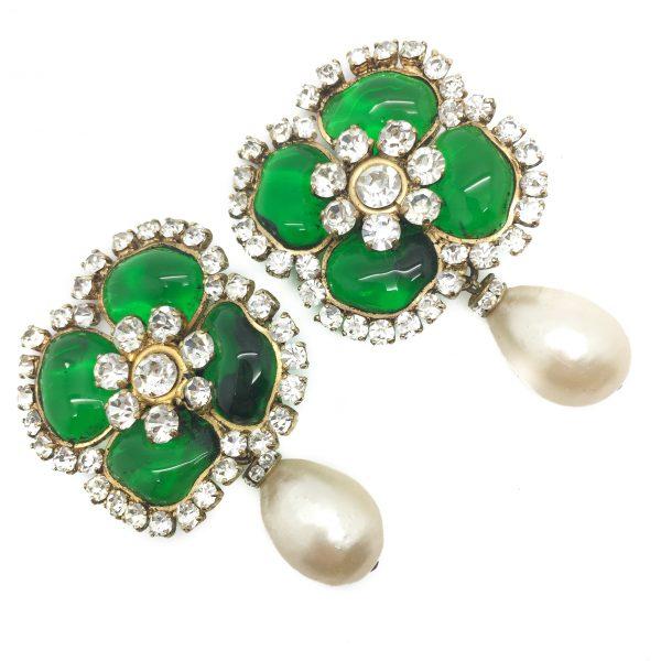 Chanel Gripoix Earrings Pate De Verre 1970s Vintage Costume Jewellery