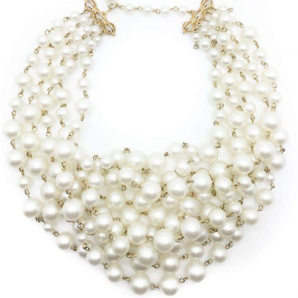 Marvella Vintage Pearl Statement Cascade Collar