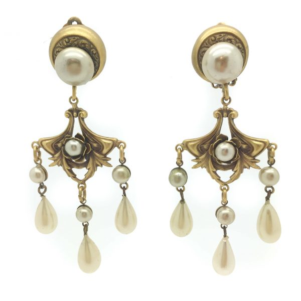 Joseff of Hollywood Pearl Cascade Clip Earrings 1940s
