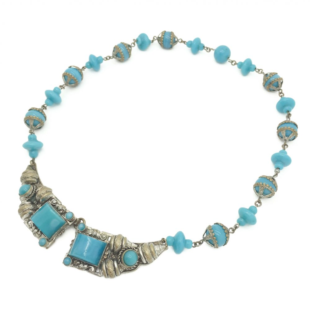 Czech 1930s Turquoise Glass Necklace