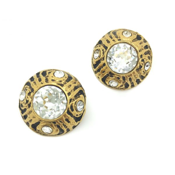 VIntage CHANEL Crystal Gilt Earrings 1970s