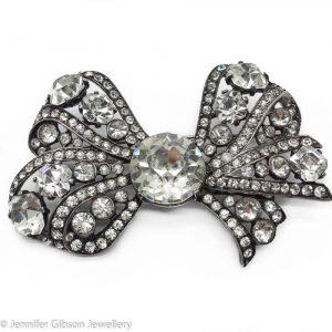 Vintage Eisenberg Bow Brooch Sterling Silver 1940s