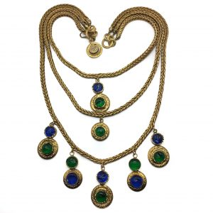 Vintage CHANEL Pate de Verre Gold Cascade Bib Necklace by Goossens