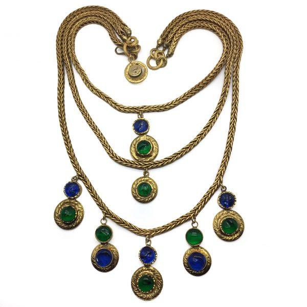 Vintage CHANEL GRIPOIX Gilt Cascade Bib Necklace
