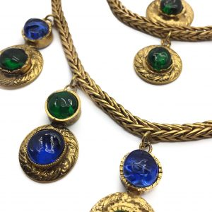 Vintage CHANEL GRIPOIX Gilt Cascade Bib Necklace