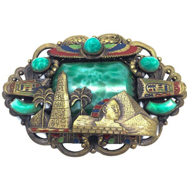 Neiger Brothers Egyptian Revival 1920s Large Brooch Vintage Jewellery Vintage Costume Jewellery Vintage for Sale Vintage Brooch