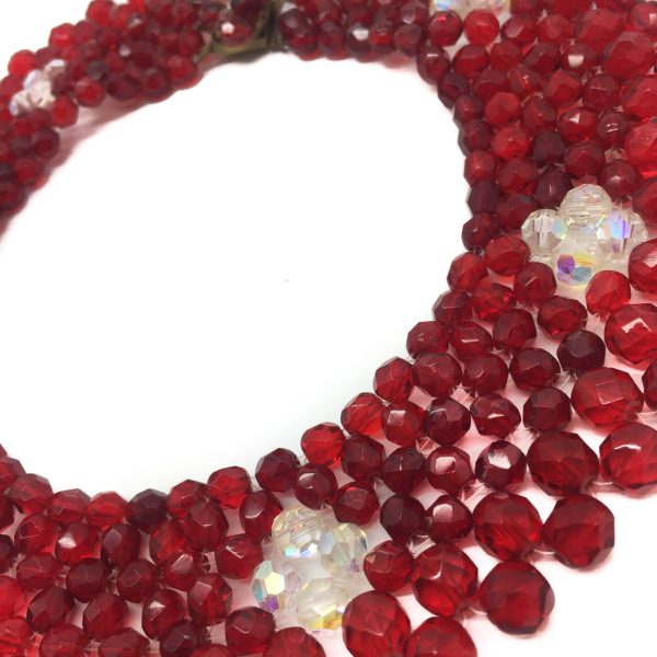 Red 1950s Crystal Collar Vintage