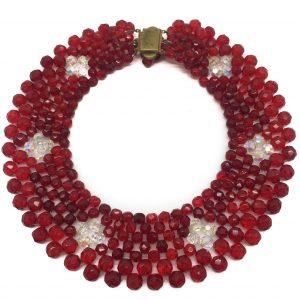 Red 1950s Crystal Collar Vintage