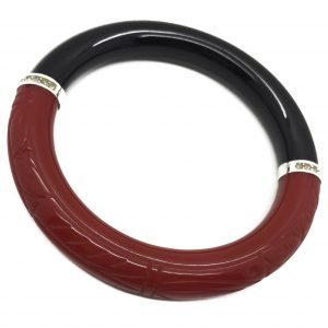 Vintage Givenchy Bangle Art Deco Inspired Red Black 1970s