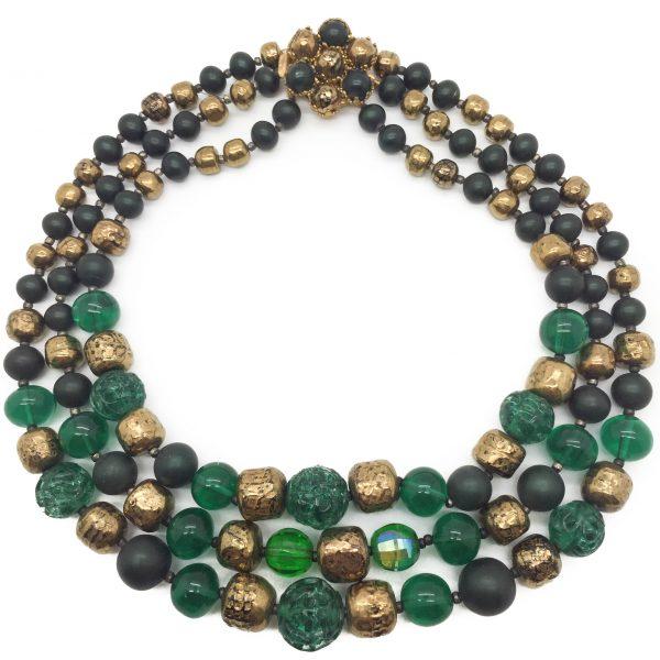 1950s Art Glass Necklace Emerald Green Bronze Lustre