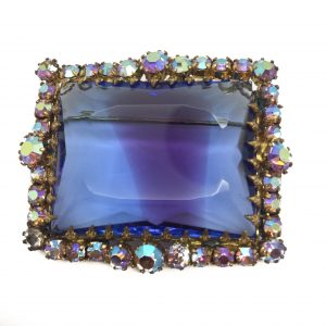 1950s Brooch Art Glass Aurora Borealis