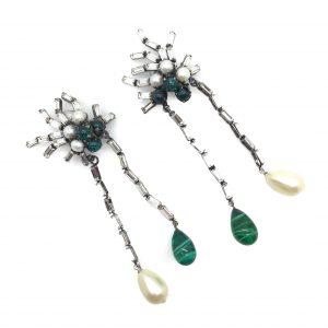 Iradj Moini Earrings Faux emerald pearl diamond shoulder dusters