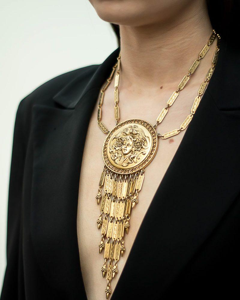 Vintage Goldette Medallion Necklace Jennifer Gibson Jewellery