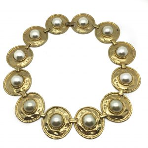 Vintage Costume Jewellery _Vintage Gilt Pearl Necklace_jennifer gibson jewellery