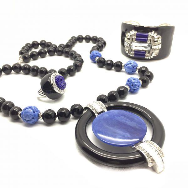 KJL Art Deco Suite Kenneth Jay Lane Vintage Costume Jewellery Necklace Ring Bracelet 1990s