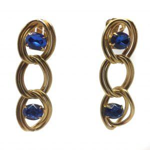 Vintage 1980s Earrings Blue Earrings Vintage Costume Jewelry Vintage costume jewellery vintage jewellery clip earrings blue earrings statement earrings