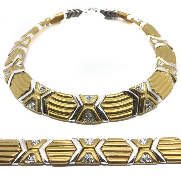 Vintage Costume Jewellery, Vintage Jewellery, Vintage Jewelry, Jewellery Shop, Costume Jewellery, Vintage Costume Jewellery, Modernist Two Tone Necklace