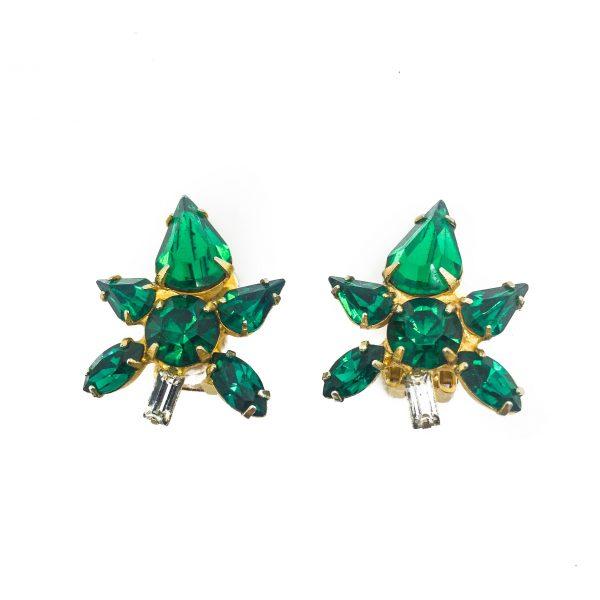 Emerald Flower Earrings, Vintage earrings, vintage jewellery, emerald green