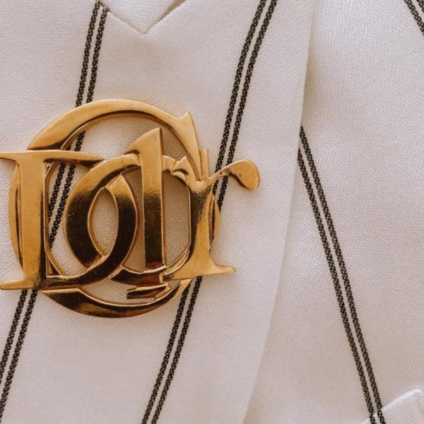 Vintage Christian Dior Interlocking Logo Brooch 1990s Jennifer Gibson Jewellery