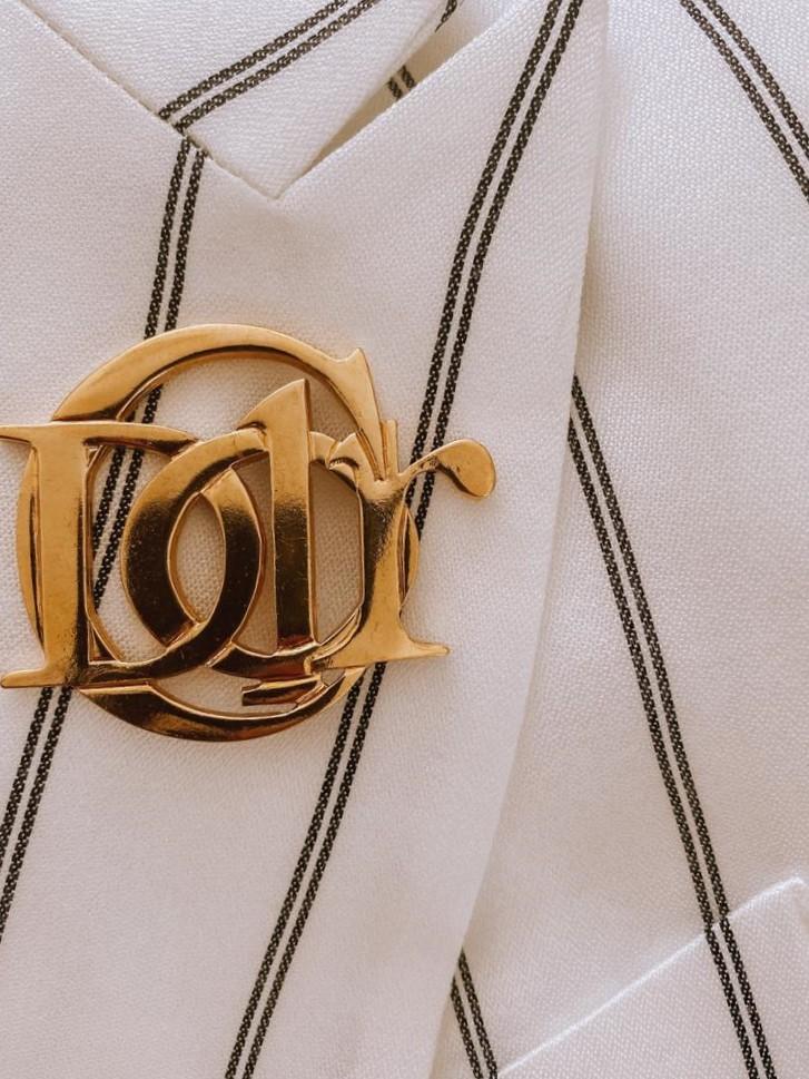 Vintage Christian Dior Interlocking Logo Brooch 1990s Jennifer Gibson Jewellery