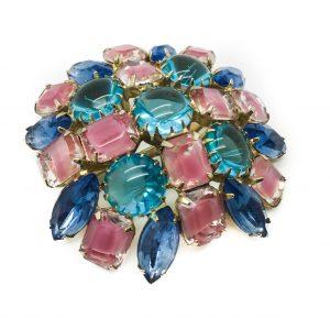 Vintage Costume Jewellery Pastel Glass Brooch
