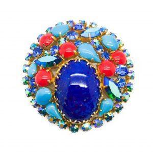 Vintage Costume Jewellery Turquoise Glass Brooch
