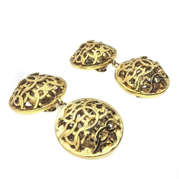 Vintage Costume Jewellery Chanel Logo Earrings