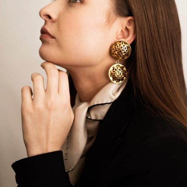 Vintage Costume Jewellery Vintage Chanel Logo Earrings