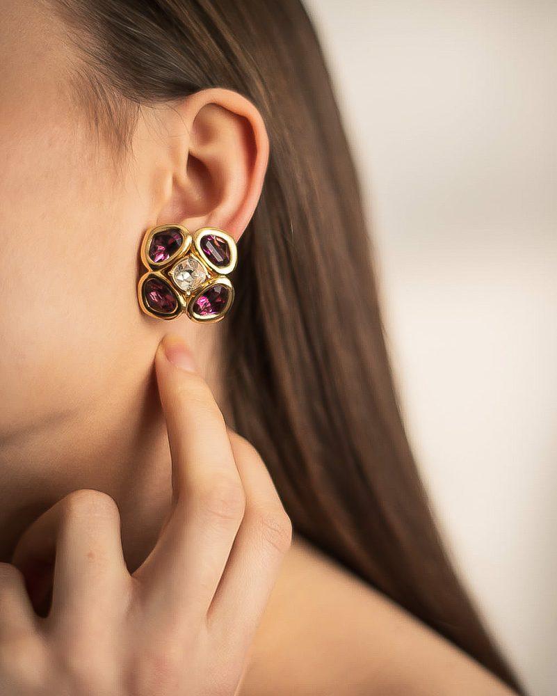 Vintage Christian Dior Amethyst Sapphire Diamond Crystal Necklace & Earrings