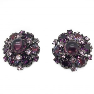 Purple Schreiner Earrings, Vintage, Vintage Earrings, Vintage Costume Jewellery