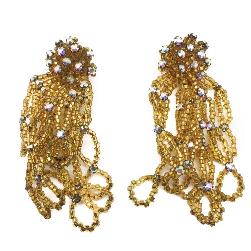 gold bead earrings, vintage gold earrings, vintage beaded earrings, vintage costume jewellery, statement earings