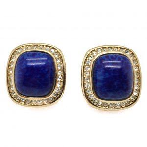 vintage dior earrings, dior earrings, vintage dior, christian dior, dior clip on earrings, blue dior earrings