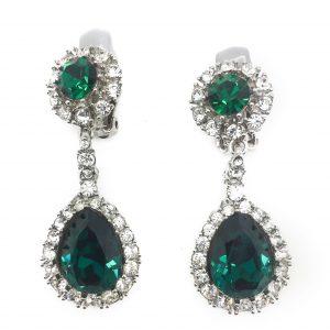 emerald ciner earrings, emerald earrings, vintage ciner earrings, vintage jewellery, vintage costume jewellery, green earrings, one of a kind jewellery