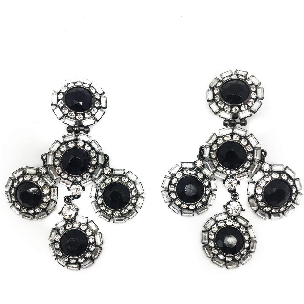 Shoulder duster, earrings, vintage costume jewellery, vintage jewellery, vintage earrings, red carpet earrings, black earrings, statement earrings
