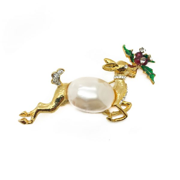 Vintage Kenneth Jay Lane Reindeer Brooch