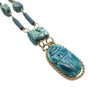 1970s Ceramic Egyptian Scarab Necklace
