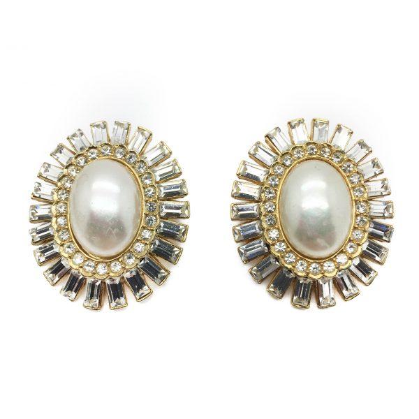 1980s SPHINX Pearl Crystal Earrings