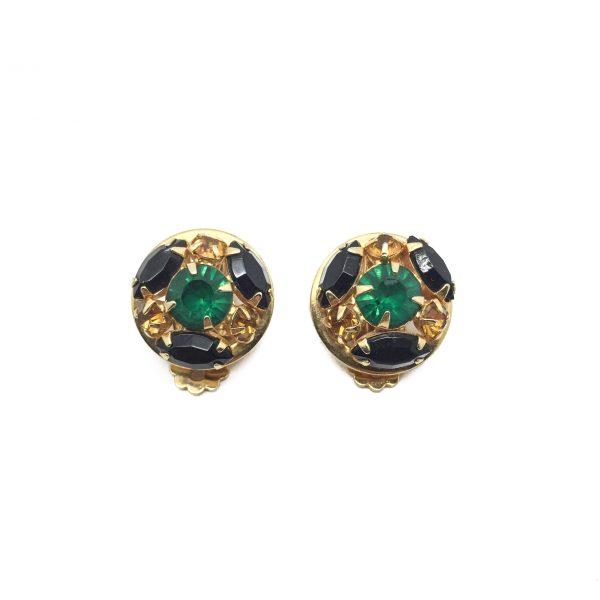 1960s Green Black Crystal Earrings