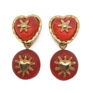 1990s Orange Heart Earrings