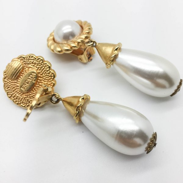 1980s Escada Pearl Earrings